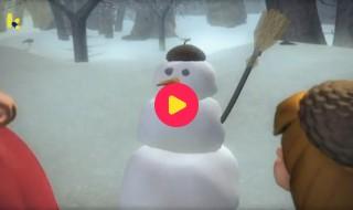 Sprookjesboom: Stappen in de sneeuw