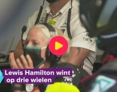 Karrewiet: Lewis Hamilton wint op drie wielen