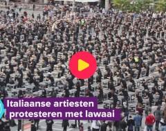 Karrewiet: Italiaanse artiesten protesteren met lawaai