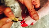 Miley Cyrus lakt nagels van varken