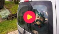 Sander in een busje