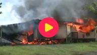 Huis verwoest door lavastroom