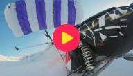 Karrewiet: Sneeuwscooter vliegt door de lucht