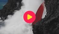 Karrewiet: Lava stroomt in de oceaan