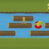 Probeer de rivier over te steken door op de boomstammen te springen.